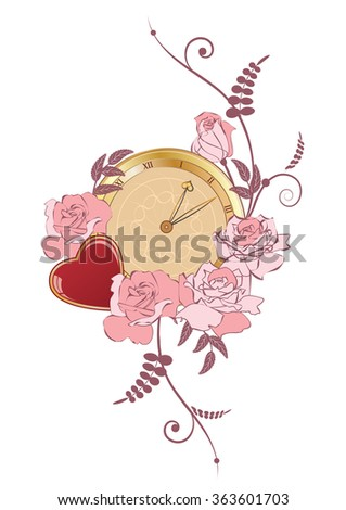 illustration with clock, heart and flowers of roses - stock photo