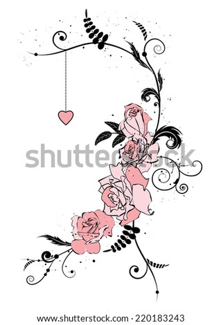 illustration with flowers of roses and heart - stock photo