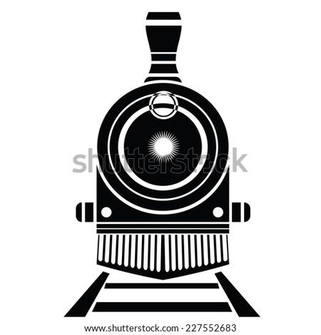illustration with old train icon on a white background - stock photo