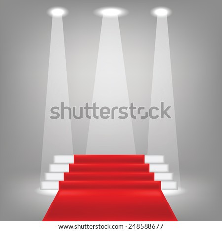 illustration  with red carpet on grey background - stock photo