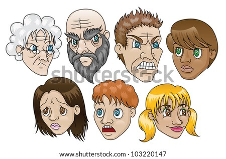 7 illustrations depicting people with various facial expressions. Raster. - stock photo