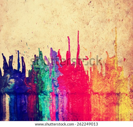 image from color and texture background series (melted coloring crayons) good for back to school theme or teaching school children primary colors toned with a retro vintage instagram filter app  - stock photo