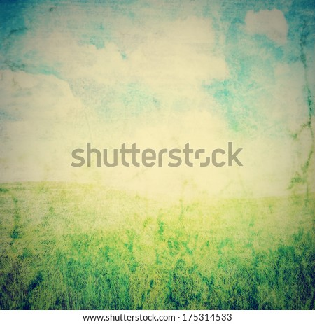 image from outdoor background series (sky and grass) done with a retro vintage instagram filter  - stock photo