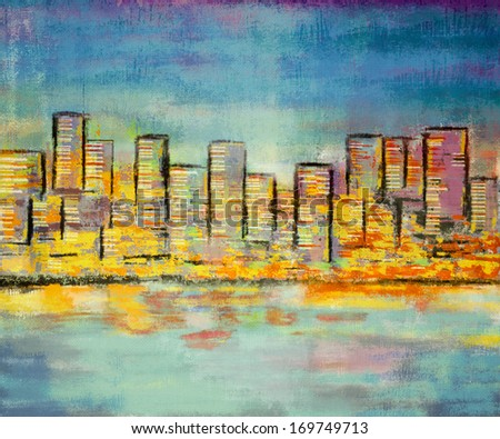 impressionism painting building skyline landscape on canvas  - stock photo