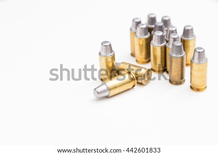 .45inch or 11mm acp bullet ammo isolated on white - stock photo