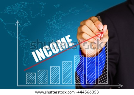 """""""Income"""" text with hand of young businessman point on virtual graph red line and bar showing on increasing with background -business, finance, salary, crisis, and development concept - stock photo"""