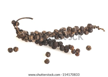 Indian Black Pepper isolated on white background - stock photo