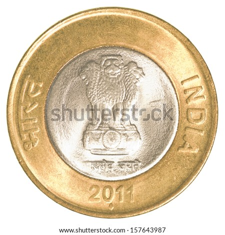 10 indian rupees coin isolated on white background - stock photo