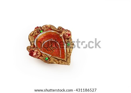 Indian Traditional Clay Oil Lamp  - stock photo