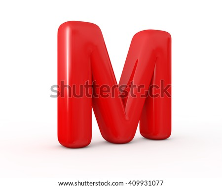 Inflate shiny M red letter, 3d illustration. - stock photo