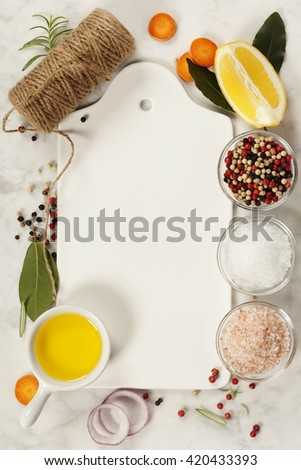 ingredients for cooking fish and seafood on marble background. Clean food, health or cooking concept. - stock photo