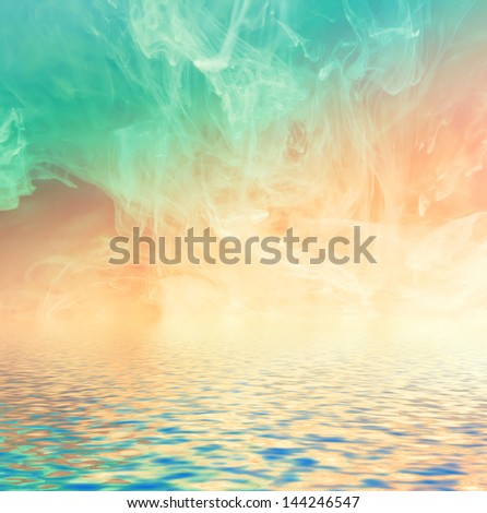 Ink background reflected in water surface. Conceptual photo. - stock photo