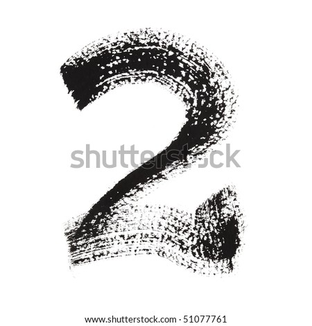 2 - Ink numbers isolated over the white background - stock photo