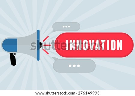 INNOVATION word out of megaphone with grey background - stock photo