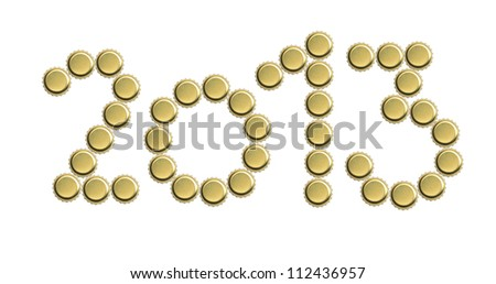 2013 inscription made from metal bottle caps on white background - stock photo