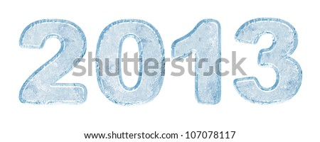 2013 inscription of ice letters - stock photo