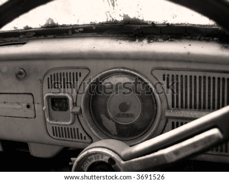 inside of old car in  toned monochrome - stock photo