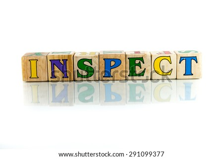 inspect colorful wooden word block on the white background - stock photo