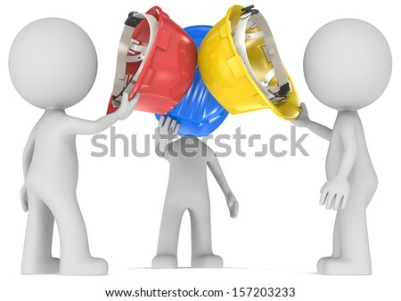 Inspiration. Dude the Builder x 3 holding hardhats together. Side view. - stock photo