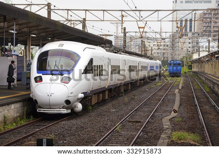 18.08.2015. 885 Intercity Limited Express Train by Kyushu Railway Company. Nagasaki train station. Onouemachi. Japan  - stock photo