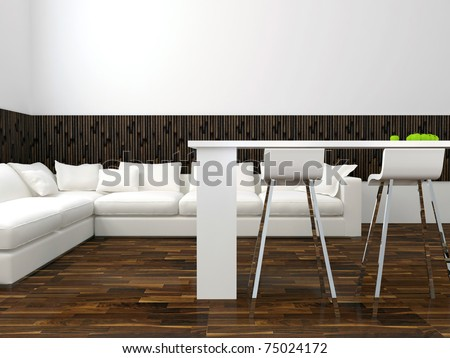 interior design of modern white living room with big white sofa, big lounge, 3d render - stock photo