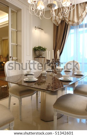 interior of a dinning room in white color - stock photo