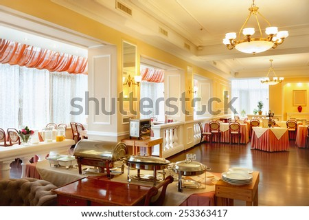 Interior of modern restaurant in classic style - stock photo