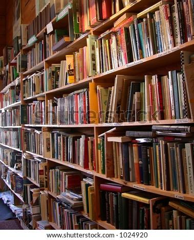 Interior, used book shop, - stock photo