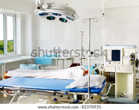 Interior view of operating room. - stock photo