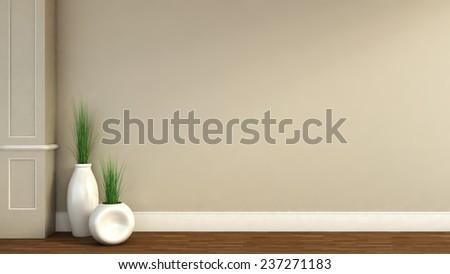interior with plant. 3D illustration - stock photo