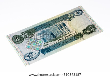 1 Iraqi dinar bank note. Iraqi dinar is the national currency of Iraq - stock photo