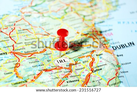 Ireland  ,United Kingdom  map  and  pin - Travel concept - stock photo