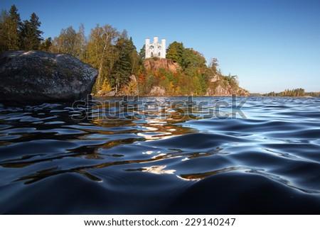 island of the Dead, Baltic sea, seascape park Mon Repos                             - stock photo