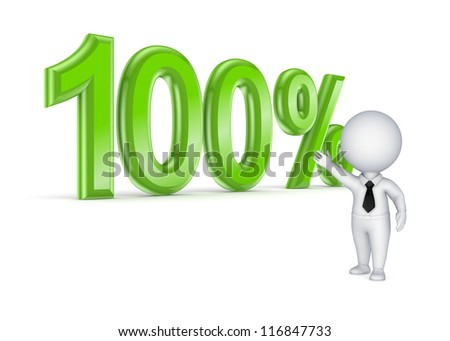 100%.Isolated on white background.3d rendered. - stock photo