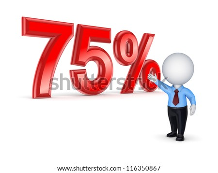 75%.Isolated on white.3d rendered. - stock photo