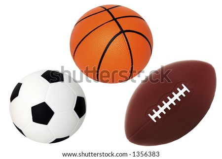 Isolated on White Soccer Basket and Foot Ball - stock photo