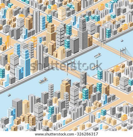 isometric city center on the map with a large number of buildings, skyscrapers, river, bridges and ships - stock photo