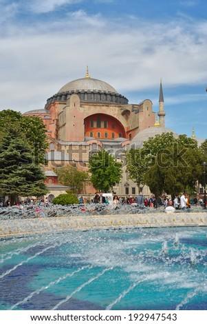 ISTANBUL - MAY 03, 2014: Hagia Sophia (also called Hagia Sofia or Ayasofya) on May 03, 2014 in Istanbul, Turkey.  - stock photo