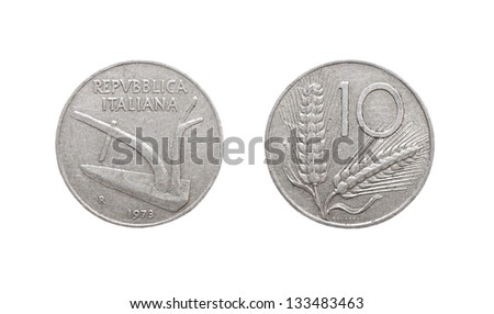 10 italian lira coin isolated on white background - stock photo