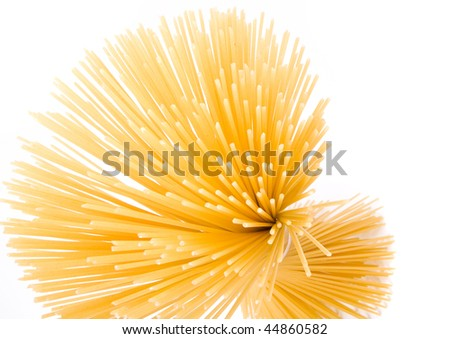 Italian long spaghetti pasta wrap bunch isolated on white background  - stock photo