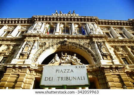 Italian Palace of Justice in Rome, Italy - stock photo