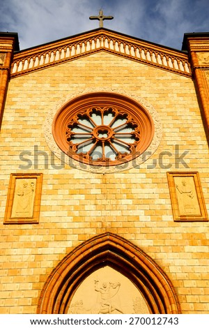 italy  lombardy     in  the villa cortese   old   church  closed brick tower wall - stock photo