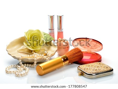 Items for decorative cosmetics makeup and jewelry - stock photo
