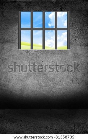 jail with blue sky window - stock photo