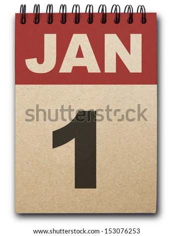 1 January calendar on recycle paper - stock photo