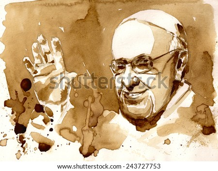 10 January, 2015:portrait of His Holiness Pope Francis.Picture created with coffee. - stock photo