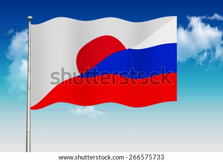 Japanese and  Russian flag         - stock photo