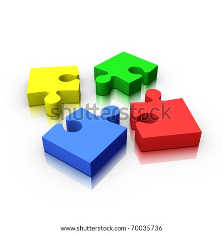 4 jigsaw puzzle pieces incomplete isolated on white (red yellow green and blue) - stock photo