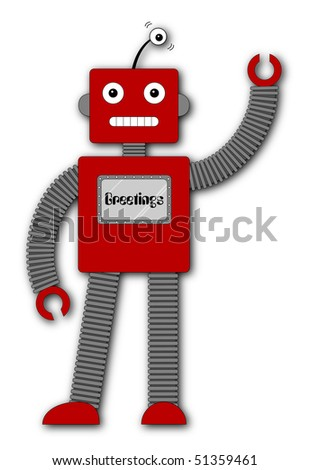 (Jpg) A fun retro robot cartoon character waving hello. - stock photo