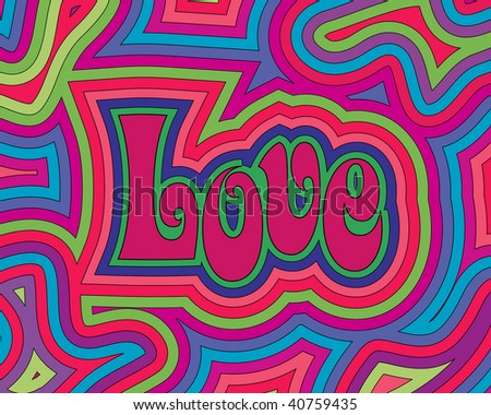 (Jpg) Groovy psychedelic Love. A vector version is also available. - stock photo